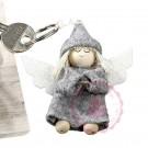 """Schlüsselanhänger """"Schutzengel"""" grau, Karte mit Spruch"""