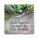 """Schild Weisheit """"Kräutergarten"""" - """"Glück beginnt, wo man die Zeit vergisst."""""""