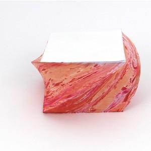 Notizblock_marmoriert_gedreht_Pfirsichfarbe mit rot